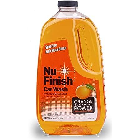 Nu Finish Car Wash Soap, No Spots, Streaks or Harmful Ingredients, Unique Pure Orange Oil Formula Removes Tar, Tree Sap, Bugs, Bird Droppings, 64 oz