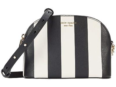 Kate Spade New York Spencer Stripe Small Dome Crossbody (Black Multi) Cross Body Handbags