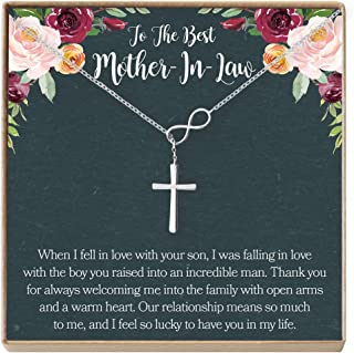 Dear Ava Mother-in-Law Gift Necklace: to My Mother-in-Law, Mother of My Husband, Infinity Cross
