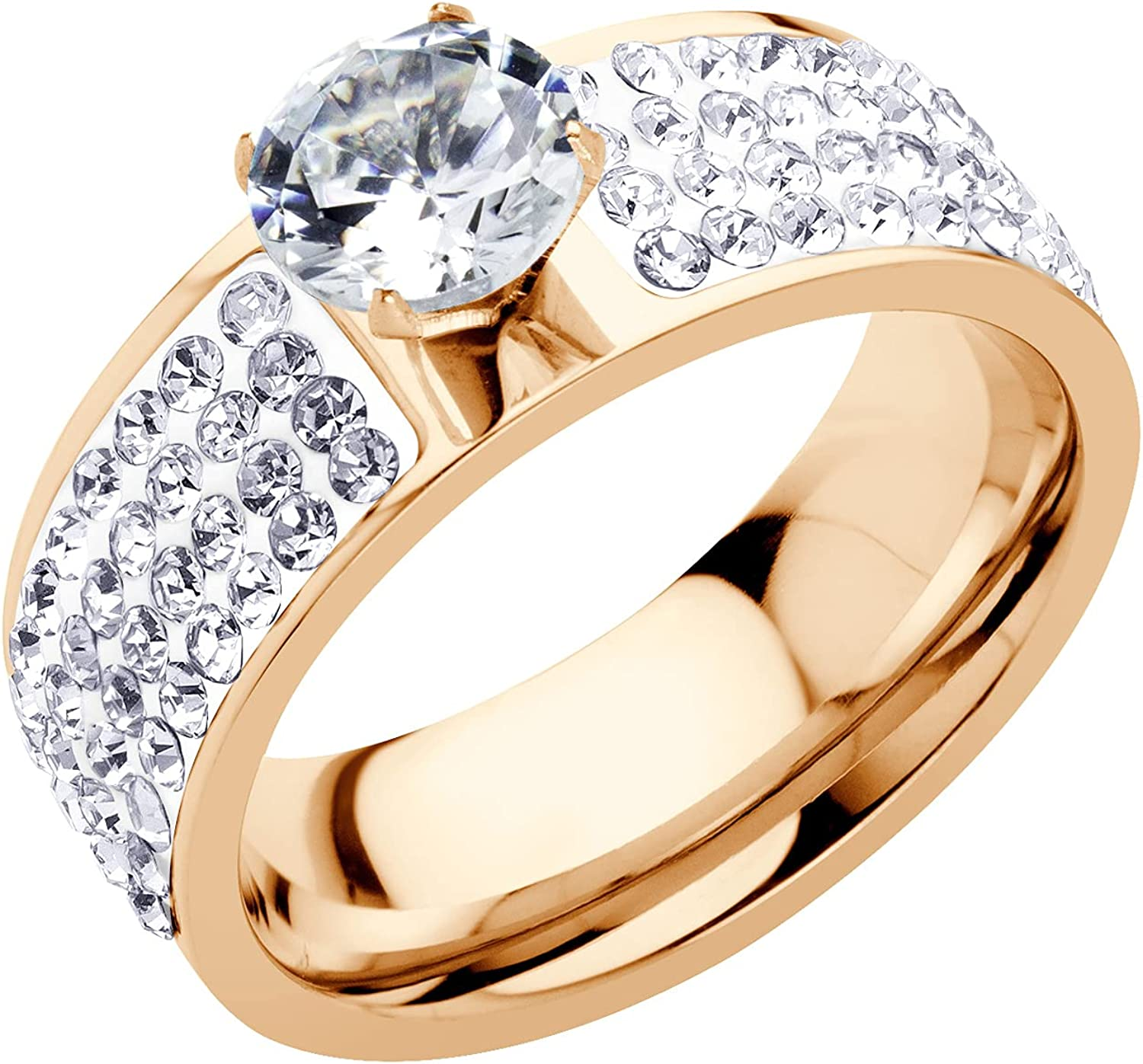 555Jewelry 13mm Wide Stainless Steel CZ & Hearts Ring for Women & Girls