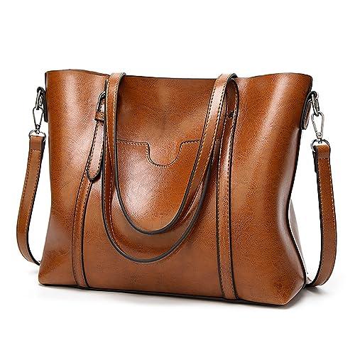 6074a6d364 EssVita Sacs à main Femme sacs à bandoulière PU cuir Poignée supérieure  Cartable Messager Sac Marron