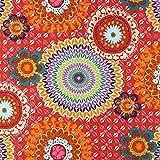 Dekostoff Baumwollköper Mandala – rot — Meterware ab