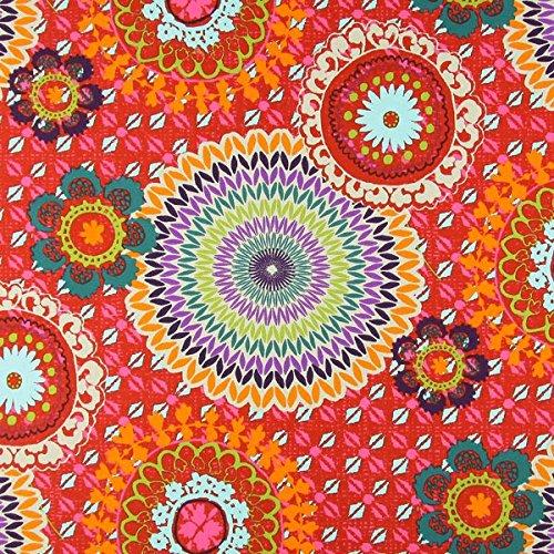 Dekostoff Baumwollköper Mandala – rot — Meterware ab 0,5m — STANDARD 100 by OEKO-TEX® Produktklasse I — zum Nähen von Gardinen, Kissen/Tagesdecken & Tischdekoration