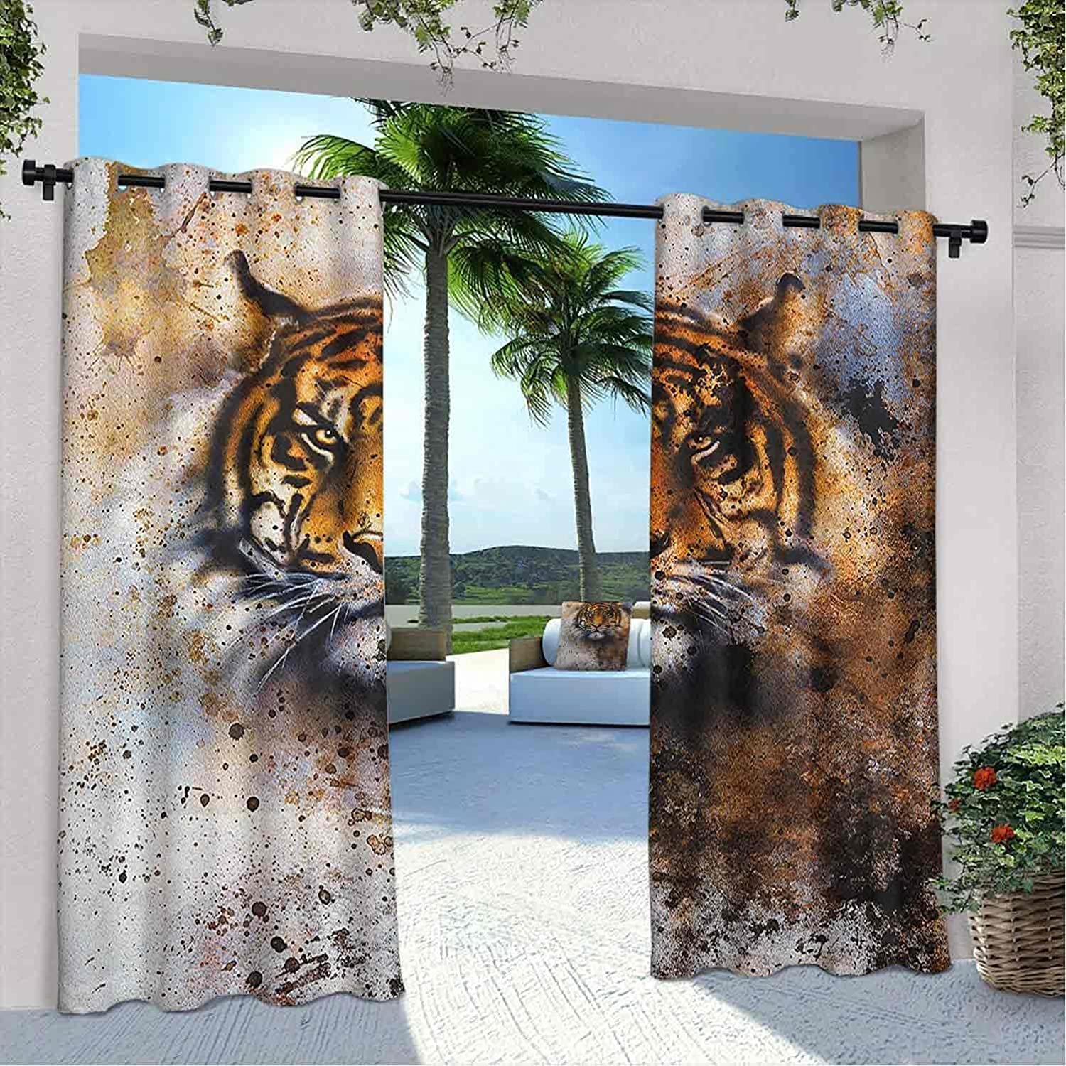 Terrace Sacramento Mall Outdoor New sales Tiger Curtain Wild Beast Straight Looking into
