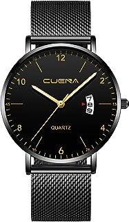 CRRJU Men Business Slim Analog Quartz Watch,Date Black Dial Wrist Watch with Mesh Bracelet Strap