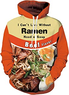 Mens Hooded Sweatshirt Jogger Pants 3D Ramen Hoodie Long Sleeve Pullover for Family Outfits