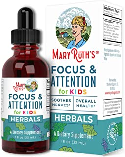Focus and Attention - Brain Support for Kids by MaryRuth's   Focus & Attention Natural Supplements for Kids   Herbal Blend...