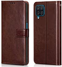 WOW Imagine Shock Proof Flip Case Back Cover for Samsung Galaxy A12 M12 Flexible Leather Finish Card Pockets Wallet Stand Chestnut Brown