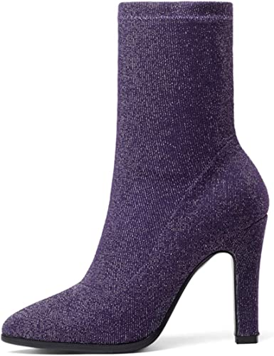 SERAPH schuhe Damen Stretch-Strick Blockabsatz High Heels Spitzen Sock Stiefel