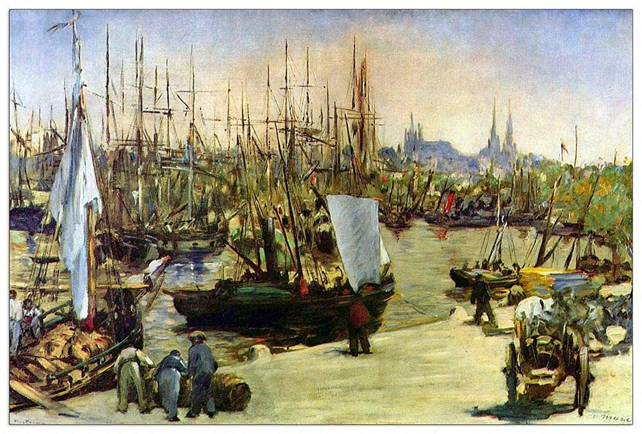 ArtPlaza TW92246 Manet ?douard-Port of Bordeaux Decorative Panel 39.5x27.5 Inch Multicolored