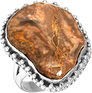Natural Petrified Wood-Hampton Butte Gemstone Stylish Jewelry Solid 925 Sterling Silver Ring Size 6