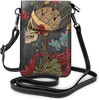 Jiger Women Small Cell Phone Purse Crossbody,Evil Mexican Sugar Skeleton With Kitsch Bush Of Roses Snake And Butterfly Art...