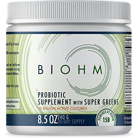 BIOHM Super Greens Superfood Powder - 30 Servings - Made with Probiotics, Digestive Enzymes, and 20 Organic Green Whole Foods - Ashwagandha, Reishi Mushroom - Allergen Free, Non-GMO, Vegetarian