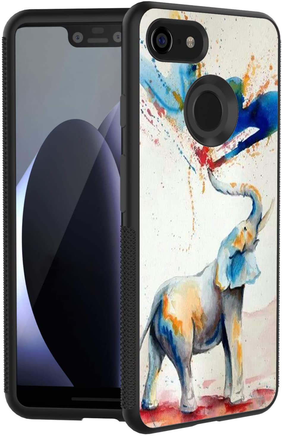 POKABOO Google Pixel 3 XL Case, [Scratch Resistance + Shock Absorption] Slim Flexible Protective Silicone Cover Phone Case for Google Pixel 3 XL - Colorful Elephant