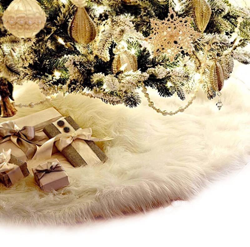 息を切らして資格情報許される90cm クリスマスツリースカート クリスマス飾り 円形 ツリースカート ベースカバー サンタクロース 雪だるま 不織布 (白色長毛ツリースカート)