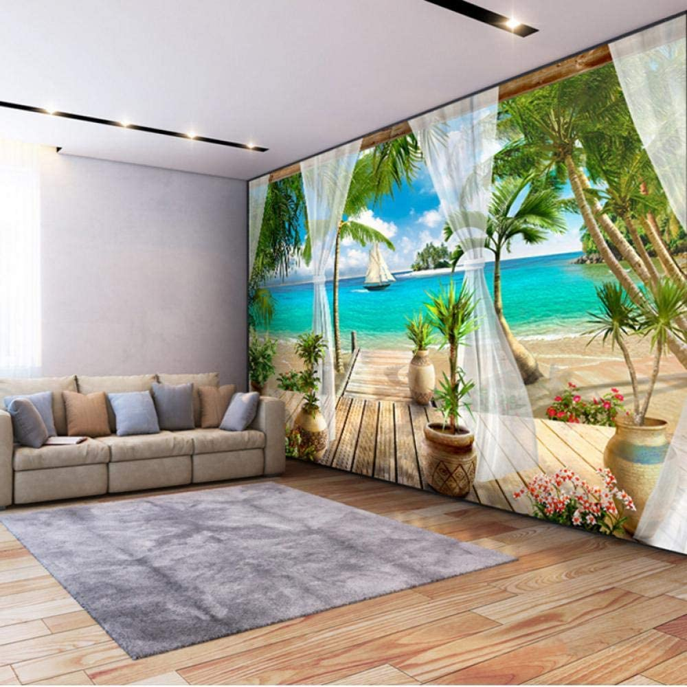Custom Self Adhesive Mural Wall Balcony Sea shopping Sandy Beach Sticker A surprise price is realized