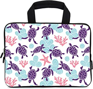 INTERESTPRINT Laptop Sleeve Pattern with Ornamental Ocean Turtles Notebook Neoprene Pouch Case Bag 17 Inch 17.3 Inch
