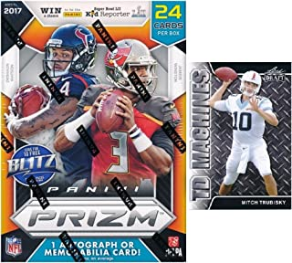 2017 Panini Prizm NFL Football EXCLUSIVE Factory Sealed Retail Box with AUTOGRAPH or MEMORABILIA! Plus BONUS 2017 Mitch Trubisky ROOKIE! Look for RC & Auto's of Patrick Mahomes, Deshaun Watson & More