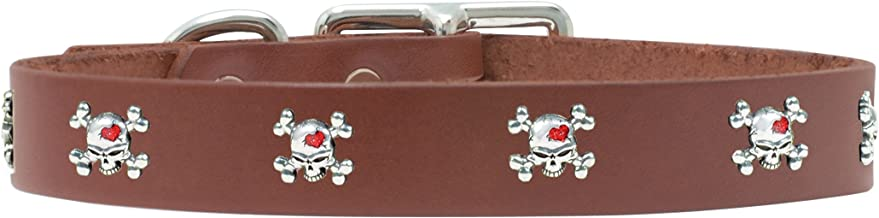 product image for Rockin Doggie Skull Rivet Veg Leather Dog Collar, 1 by 18-Inch, Brown