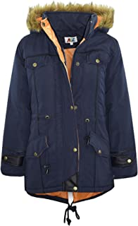 Kids Jacket Designer's Navy Parka Coat Faux Fur Hooded Top 3-13