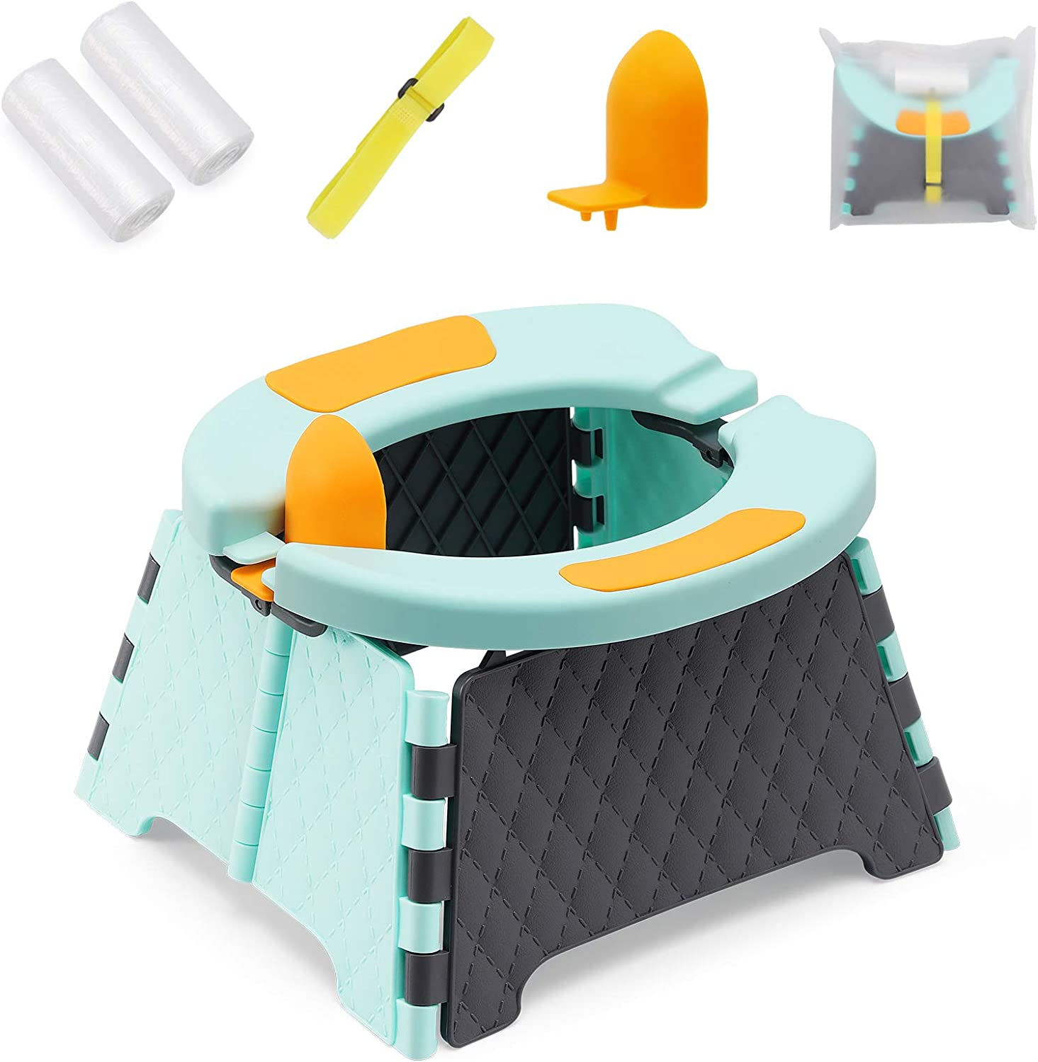 YUNHECAM Toddler Portable Potty Training Seat for Kids Baby Foldable Toilet Child Travel Potty in Car Camping Potty Chair Seat for Indoor Outdoor, with 60 Disposable Bags