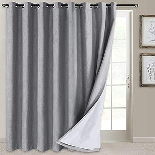 100% Blackout Patio Door Curtain Extra Wide Curtain Panels Sliding Glass Door Curtain Linen Textured Look Grommet Blackout...