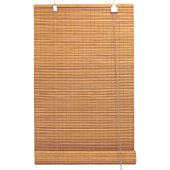 Seta Direct, Bamboo Flat-Weave Sun-Filtering Roll Up Blind - 48-Inch Wide by 66-Inch Long (Amber Honey)