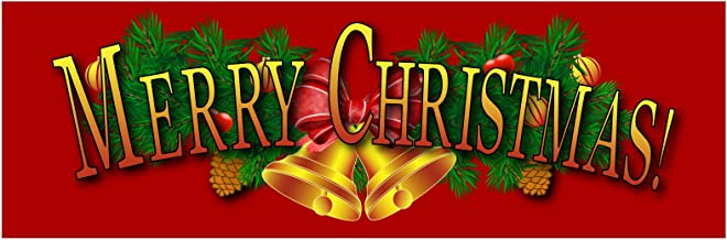Merry Christmas 4 11 oz Heavy Duty Vinyl Banner with 4 Grommets (5' X 3')