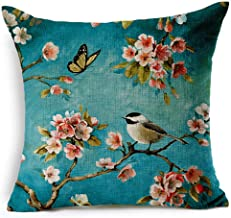 Oil Painting Japanese Cherry Blossoms Cotton Linen Throw Pillow Case Cushion Cover Home Sofa Decorative 18 X 18 Inch (2)