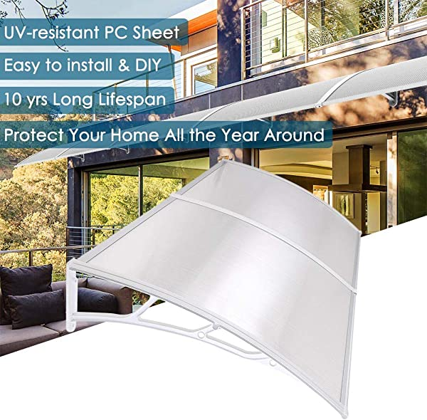 Yescom 79x40 Outdoor Door Window Awning Canopy 2 Whole Hollow Polycarbonate Sheets Patio Cover