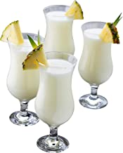 Epure Venezia Collection 4 Piece Hurricane Glass Set - Perfect for Drinking Pina Coladas, Cocktails, Full-Bodied Beer, Jui...
