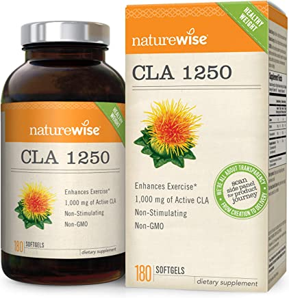 NatureWise CLA 1250, High Potency, Natural Weight Loss Exercise Enhancement, Increase Lean Muscle Mass, Non-Stimulating, Non-GMO, Gluten-Free 100% Safflower Oil, 180 count