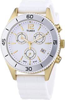 Timex Originals Women's T2N827PF Quartz Watch with White Dial Chronograph Display and White Silicone Strap