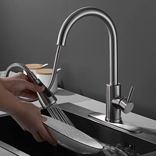 wholesale Kitchen Faucet, Single Handle Stainless Steel Kitchen Sink Faucet with Pull Down Flexible Retractable Sprayer, Pull Out popular Kitchen Faucets outlet online sale with Deck Plate fit for 1 Hole or 3 Holes Installation outlet online sale
