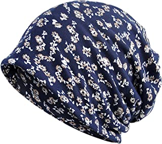 Jemis Womens Cotton Chemo Hat Beanie Scarf - Beanie Cap Bandana for Cancer (Flower Navy)