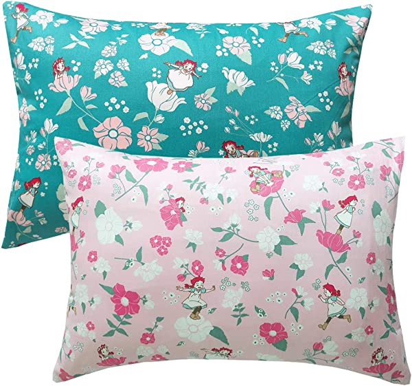 FUMAN 100 Organic Cotton Toddler Pillowcases Set Of 2 Soft And Breathable 13 X 18 2 Girl Flowers