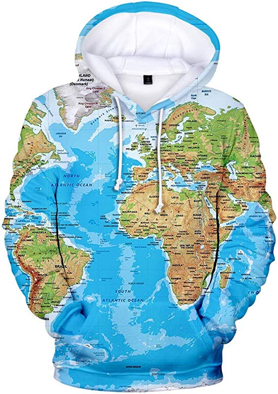 AcisuHu Newest Men S Autumn Winter Spring Fashion 3D Printing World Map Long Sleeve Hoodies Sweatershirt Tops Pullover