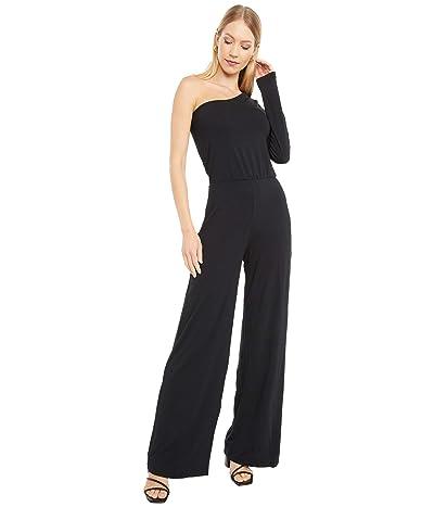 bobi Los Angeles Draped Modal Jersey One Shoulder Jumpsuit (Black) Women