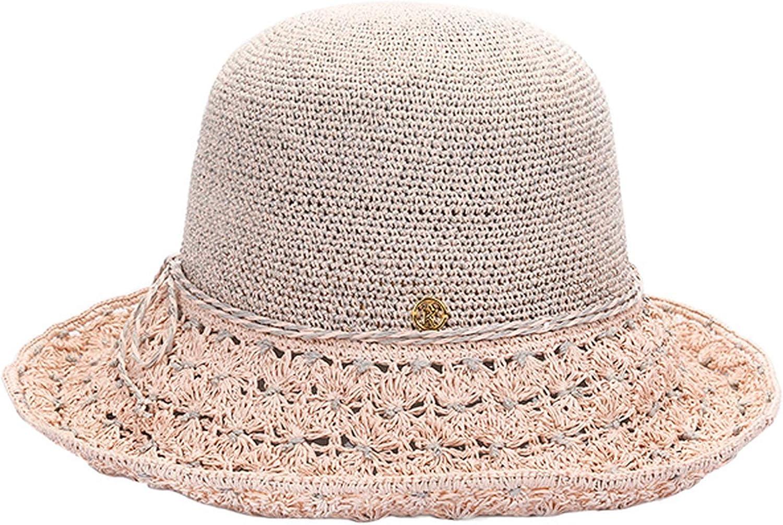 Feisette Portable Ladies Summer Sun Hat Straw Hats for Women Crochet Curl Large Brim Beach Sun Caps Foldable Sun Hat