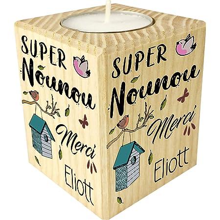 Bougie personnaliséeSuper Nounou Merci – Porte Bougie en bois personnalisé avec le prénom – Cadeau de fin d'année pour remercier la nourrice de votre enfant ou bébé – cadeau fin de contrat
