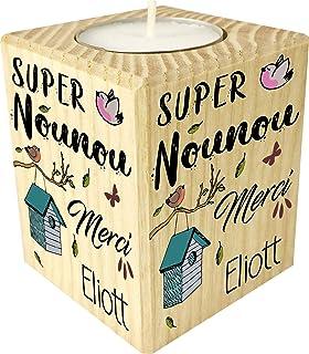 Bougie personnaliséeSuper Nounou Merci – Porte Bougie en bois personnalisé avec le prénom – Cadeau de fin d'année pour re...