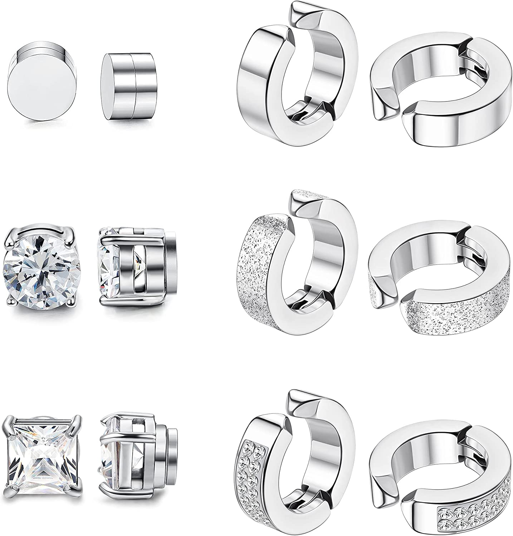 CASSIECA 6 Pairs Stainless Steel Magnetic Stud Earrings for Men Women Hoop Earrings Clip On CZ Non-Piercing