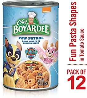 Chef Boyardee Paw Patrol Pasta Shapes in Tomato Sauce, 15-oz. Can (Pack of 12)