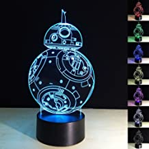 HU XUE GUANG 3D Illusion Lamp bb-8 Robots Night Light 3D Night Light for Kids 7 Color Changing Lights Desk Table Lamp Home Decor Sleep Lamp Best Gift Toys