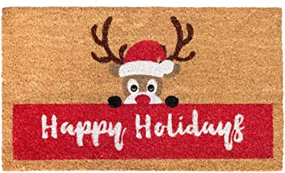 "Rugsmith Red Machine Tufted Happy Holidays Reindeer Doormat, 18"" x 30"", Natural"