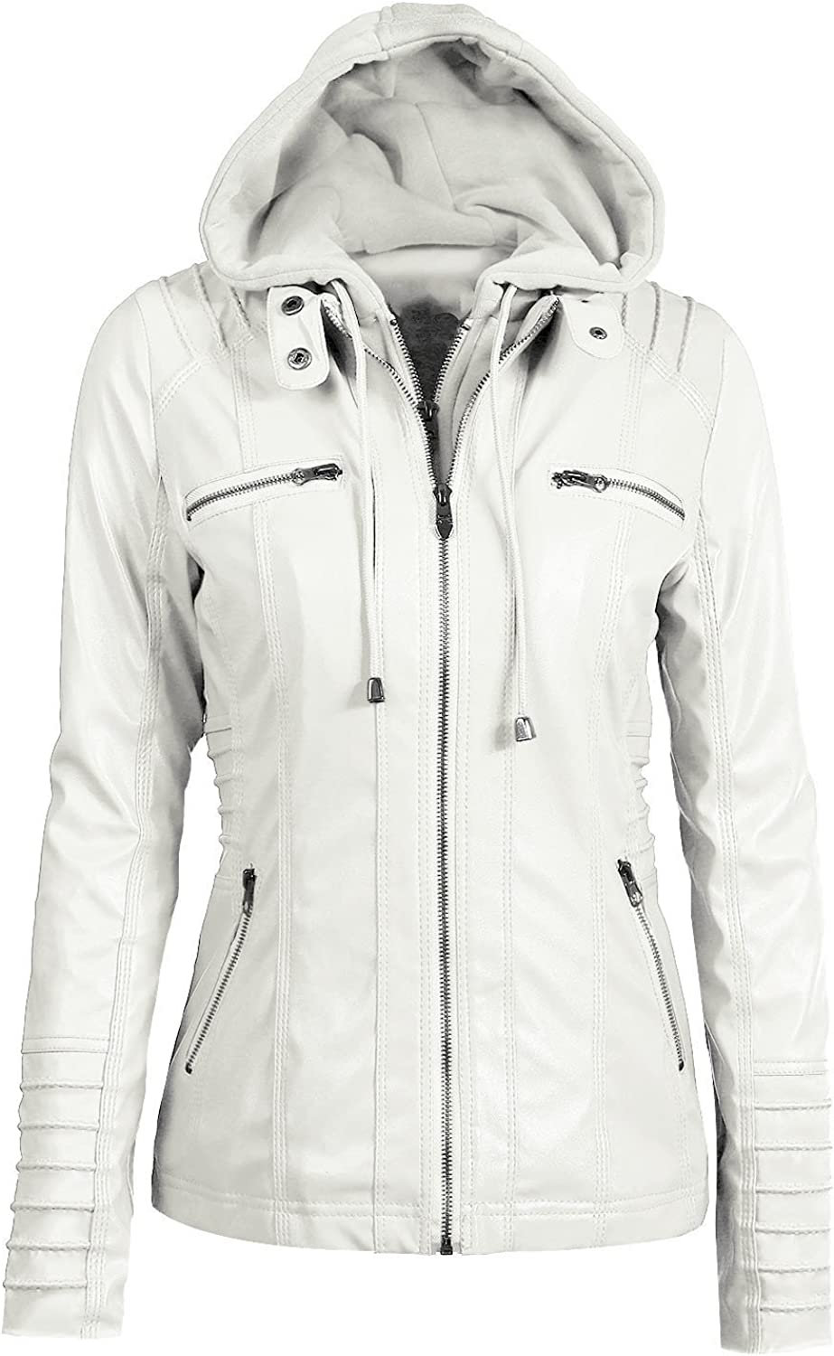 Wollet Women's Removable Hooded Faux Leather Jackets