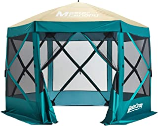 MasterCanopy Escape Shelter, 6-Sided Canopy Portable Pop up Gazebo Durable Screen Tent Bug and Rain Protection (6-8 Person), Turquoise/Beige