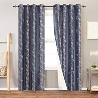 Lined Luxury Faux Silk Floral Embroidered Curtains for Bedroom Embroidery Curtain for Living Room 95 inches Long Drapes, 2 Panels, Slate Blue