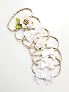 Baby Bows Neutral white Headbands Set hair accessories baby headbands