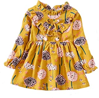 ModnToga Kid Baby Girls Ruffled Collar Long Sleeve Princess Party Wedding Flower Dresses